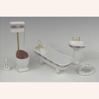 Puppenhaus Puppenstube 1:12 Badezimmer mit goldenem Rand 5tlg. Puppenstuben & -häuser