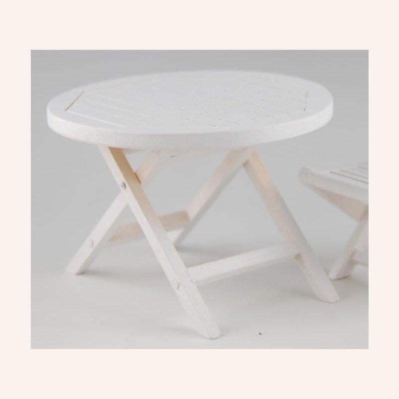 Gartentisch rund, weiß im Dresdner Puppenhaus, 9,70 €