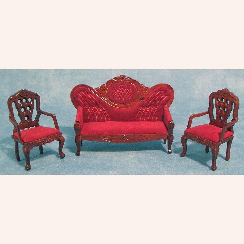 sofa mit 2 sesseln aus rotem samt im dresdner puppenhaus 20 90. Black Bedroom Furniture Sets. Home Design Ideas