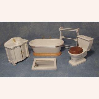 Badezimmer in weiß, 5-teilig im Dresdner Puppenhaus, 22,90 €