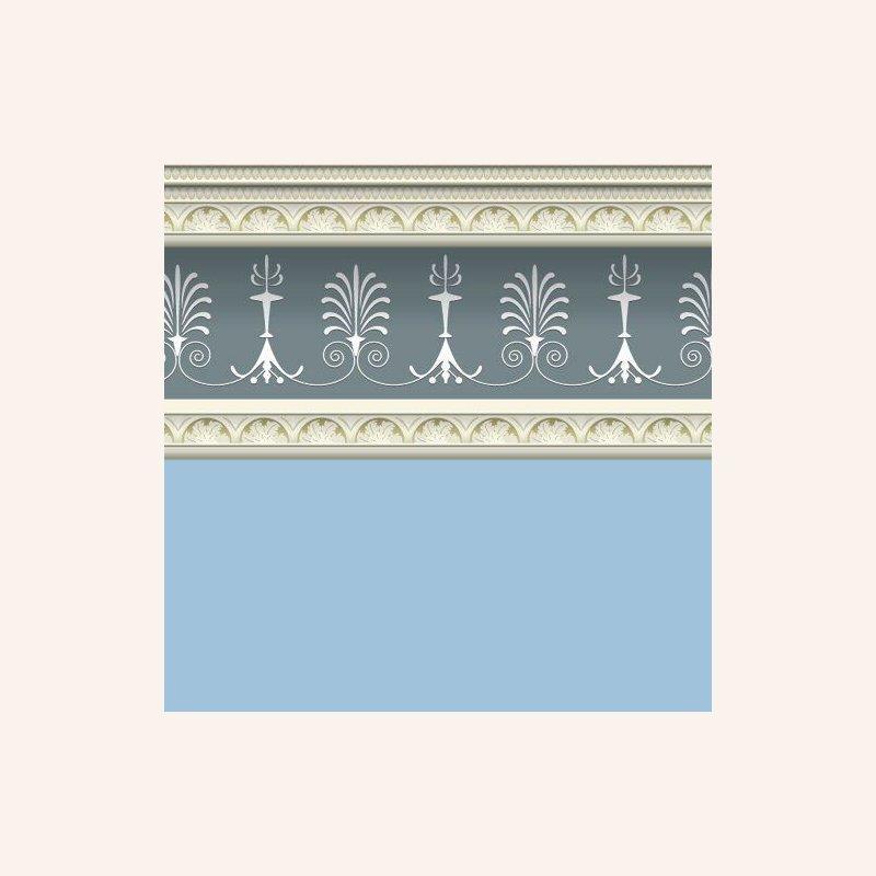 tapete mit bord re georgian blue im dresdner puppenhaus. Black Bedroom Furniture Sets. Home Design Ideas
