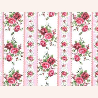 rosa Tapete gestreift mit Rosen, A3 im Dresdner Puppenhaus, 2,00 €