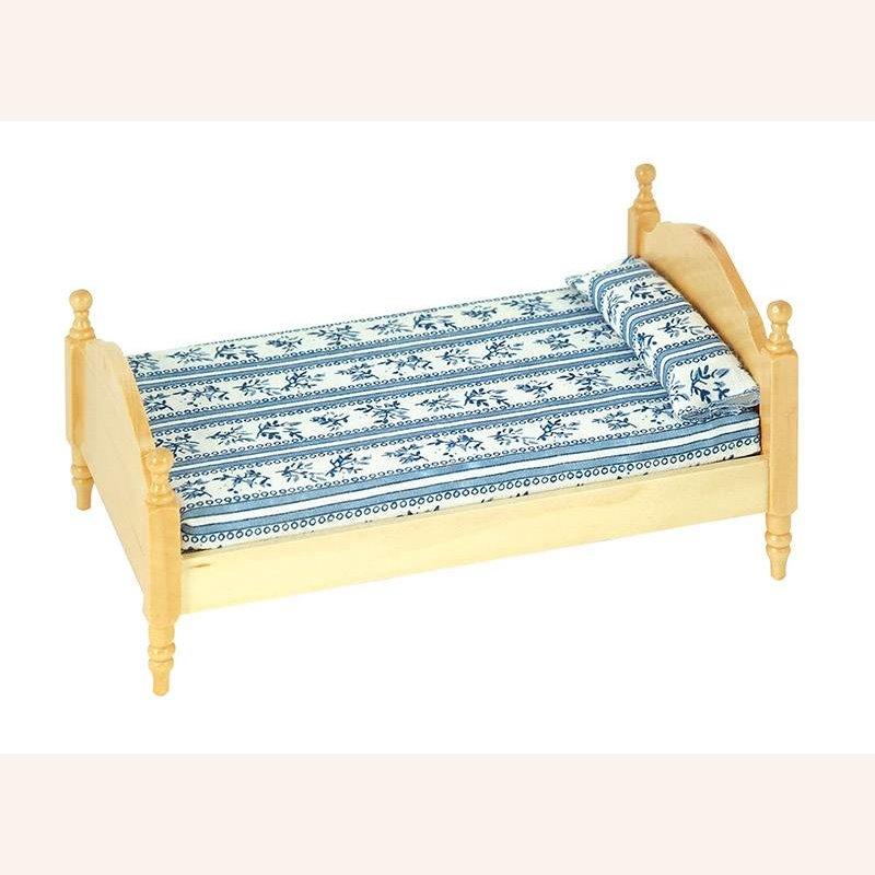 einzelbett pinie mit blauer matratze im dresdner puppenhaus 15 90. Black Bedroom Furniture Sets. Home Design Ideas
